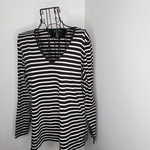 LRL Ralph Lauren striped  vneck top